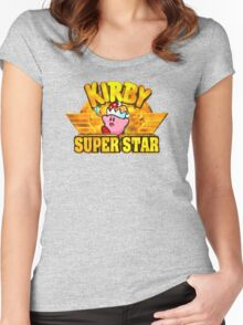 Kirby Super Star (SNES) Title Screen Women's Fitted Scoop T-Shirt