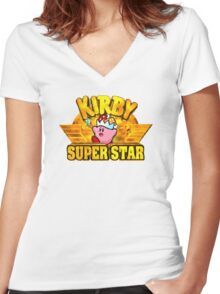 Kirby Super Star (SNES) Title Screen Women's Fitted V-Neck T-Shirt