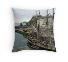 Tall ship in Charlestown Harbour Throw Pillow