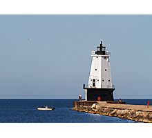 Ludington Light and Fishermen Photographic Print