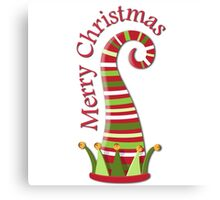 Merry Christmas Elf Hat Canvas Print