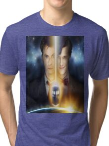 doctor who timelords 10 and 11 Split Tri-blend T-Shirt