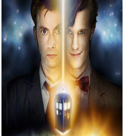 doctor who timelords 10 and 11 Split Sticker