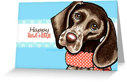 Christmas Blues GSP Happy Howlidays by offleashart