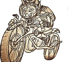 Berserk Steampunk Motorcycle Cat by felissimha