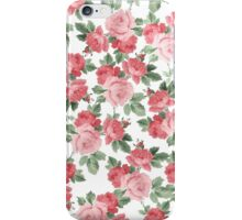 Trendy chic pink red vintage roses pattern iPhone Case/Skin