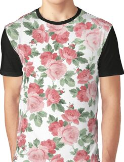 Trendy chic pink red vintage roses pattern Graphic T-Shirt