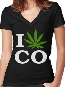I Cannabis Colorado Women's Fitted V-Neck T-Shirt
