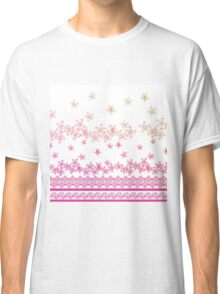 Pink vintage gradient abstract flowers pattern Classic T-Shirt