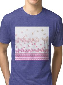 Pink vintage gradient abstract flowers pattern Tri-blend T-Shirt