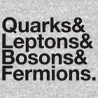 Quarks & Leptons & Bosons & Fermions. - black design by M. Dean Jones