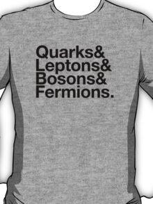 Quarks & Leptons & Bosons & Fermions. - black design T-Shirt