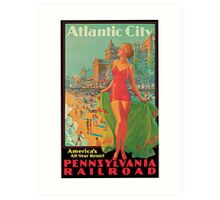 Atlantic City retro vintage bathing beauty  Art Print