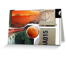 Red Train A015 Collage painting Greeting Card