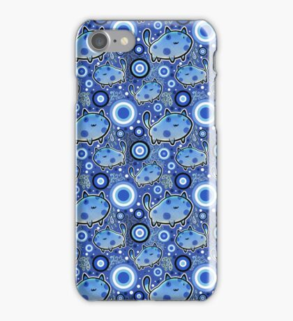 Blue Cartoon Cat Pattern iPhone Case/Skin