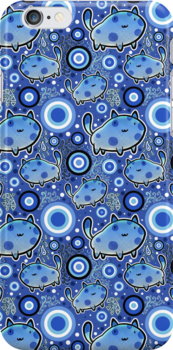 Blue Cartoon Cat Pattern by SaradaBoru