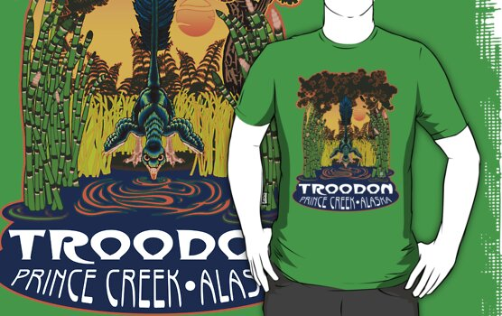 Retro Troodon in the Rushes (dark-colored shirt) by alaskanime