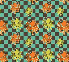 Fancy Octopus Checkered Pattern by SaradaBoru