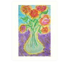 Zinnias and Roses Art Print