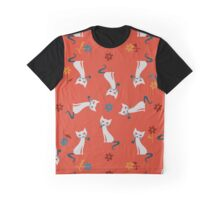 Smoking Cat - Orange Graphic T-Shirt