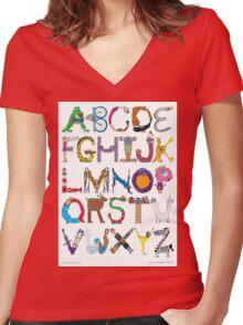 Children's Alphabet Women's Fitted V-Neck T-Shirt
