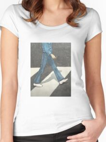 The Beatles George Harrison Abbey Road Zebra Crossing Women's Fitted Scoop T-Shirt