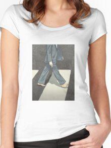 The Beatles Paul McCartney Illustration Abbey Road Zebra Crossing Women's Fitted Scoop T-Shirt