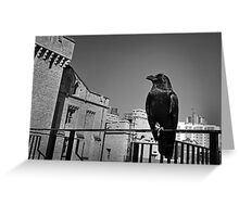 Raven at The Tower of London, B&W Greeting Card