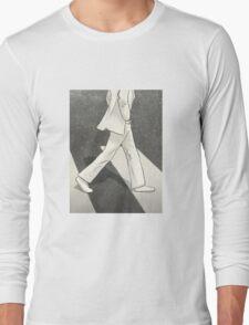 The Beatles John Lennon Illustration Abbey Road Zebra Crossing Long Sleeve T-Shirt