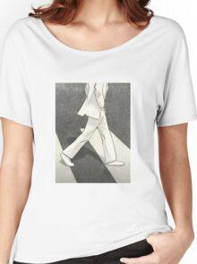 The Beatles John Lennon Illustration Abbey Road Zebra Crossing Women's Relaxed Fit T-Shirt