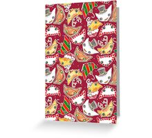 """""""Oro?"""" Christmas Wine Red Greeting Card"""