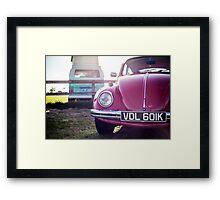 Vintage Volkswagens: Turquoise Camper and red Beetle Framed Print