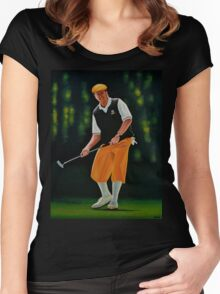 Payne Stewart painting Women's Fitted Scoop T-Shirt