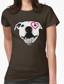 Heart over eye Pittie Womens Fitted T-Shirt