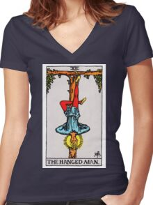 Tarot Card - The Hanged Man Women's Fitted V-Neck T-Shirt