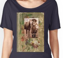 Vintage Cowgirl Horse Antique Book Rose Women's Relaxed Fit T-Shirt
