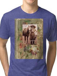 Vintage Cowgirl Horse Antique Book Rose Tri-blend T-Shirt