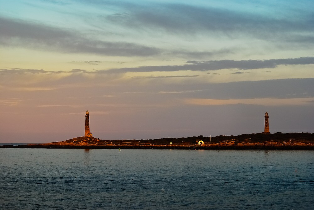 Thacher Island Lights as Dusk by Steve Borichevsky