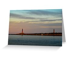 Thacher Island Lights as Dusk Greeting Card