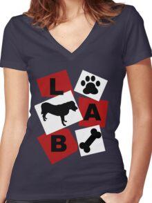 Black Labrador. Women's Fitted V-Neck T-Shirt
