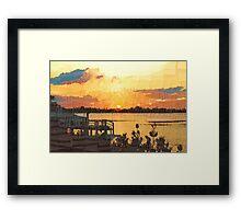 Dock at sunset Framed Print