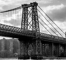 Williamsburg Bridge in Black and White, NYC by LizzyWake