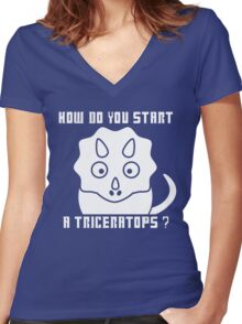 How do you start a Triceratops?! - Dr Who Women's Fitted V-Neck T-Shirt