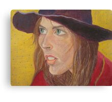 Girl with Purple Hat Canvas Print