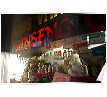 Smiling Buddha in a store window Poster