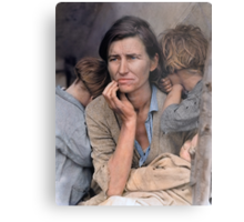 Colorized  - Migrant Mother by Dorothea Lange Metal Print