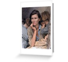 Colorized  - Migrant Mother by Dorothea Lange Greeting Card