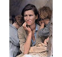 Colorized  - Migrant Mother by Dorothea Lange Photographic Print