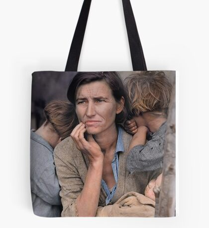 Colorized  - Migrant Mother by Dorothea Lange Tote Bag