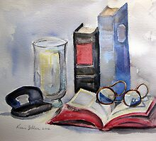 Old books still life by Karin Zeller